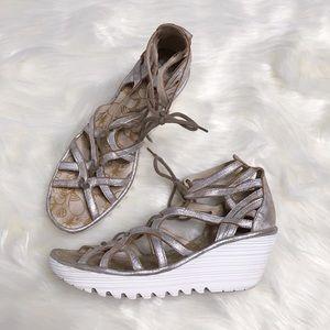 Fly London Yuke Wedge Lace Up Sandals